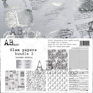 """Stack 12x12"""" AB Studio Glam Papers Silver 2"""