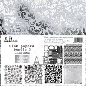 """Stack 12x12"""" AB Studio Glam Papers Silver 3"""