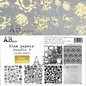 """Stack 12x12"""" AB Studio Glam Papers Gold 3"""