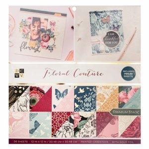 "Floral Couture Stack Premium 12x12"" con foil Gold"