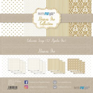 "Pad 12x12"" Papers For You Básicos con Foil Oro"