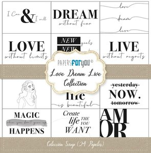 """Pad 12x12"""" Papers For You Love Dream Live"""
