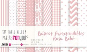 """Pad 12x12"""" Vellums Papers For You Básicos Rosa Bebé"""