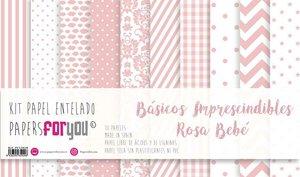 """Pad 12x12"""" Papel Tela Papers For You Básicos Rosa Bebé"""