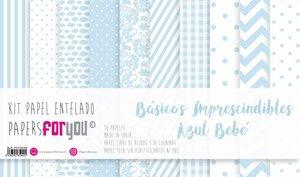 """Pad 12x12"""" Papel Tela Papers For You Básicos Azul Bebé"""