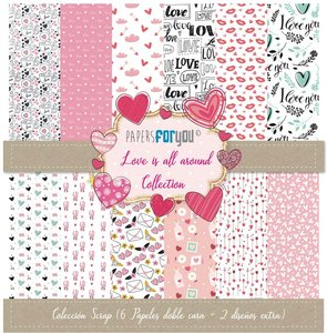 """Pad 12x12"""" Papers For You Love is all Around"""