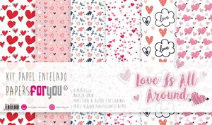 """Pad 12x12"""" Papel Tela Papers For You Love is all Around"""