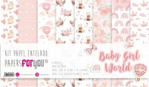 """Pad 12x12"""" Papel Tela Papers For You Baby Girl World 8 pcs"""