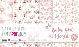 "Pad 12x12"" Vellums Papers For You Baby Girl World 6 pcs"