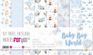 """Pad 12x12"""" Papel Tela Papers For You Baby Boy World 8 pcs"""