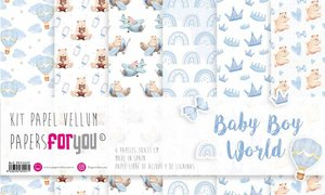 "Pad 12x12"" Vellums Papers For You Baby Boy World 6 pcs"