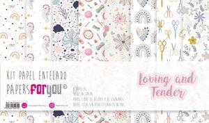 """Pad 12x12"""" Papel Tela Papers For You Loving and Tender 8 papeles"""