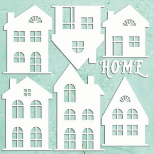 """Chipboard XL 12x12"""" Mintay Chippies Decor Houses Set"""