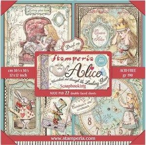 """Pad especial 12x12"""" Stampería Alice Through the Looking Glass 22 hojas"""
