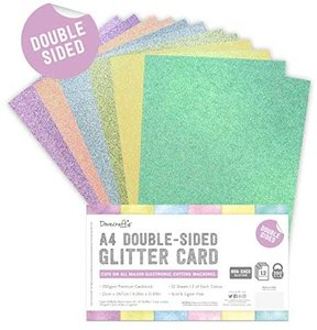 Pad cartulinas A4 Glitter Pastel Dovecraft 12 pcs