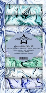 Pad papeles Paper Favourites 10x21 cm Green-Blue Marble