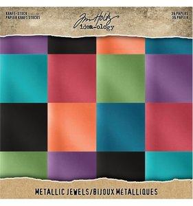 "Cartulinas 8x8"" Tim Holtz Kraft & Metallic Jewels"