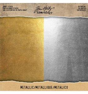 "Cartulinas 8x8"" Tim Holtz Kraft & Metallic Gold & Silver"