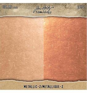 """Cartulinas 8x8"""" Tim Holtz Kraft & Rose Gold & Copper"""