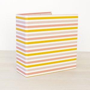"""Álbum 6""""x8"""" Kimidori Colors lomo ancho Rayas amarillas y rosas"""