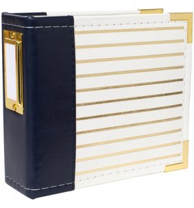 Álbum 4x4 Navy with gold foil stripes