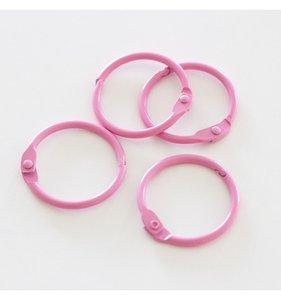 "Set 4 anillas 1"" - 2,5 cm Rosa Chicle"