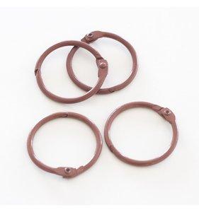 """Set 4 anillas 1,5"""" - 4 cm Marrones"""