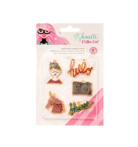 Charms metálicos Glitter Girl