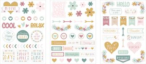 Set de pegatinas de chipboard No Stress & Co 3 hojas