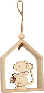 Casita de madera para colgar ratón con farol