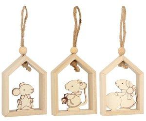 Set de Casitas de madera con ratón para colgar 3 pcs