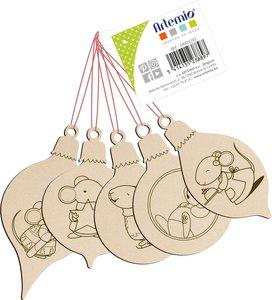 Set de maderitas para colgar Bolas con ratón