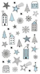 Pegatinas puffy Cozy Christmas Casitas