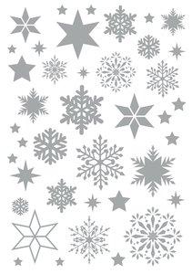 Rubons o calcomanías Cozy Christmas copos plateados