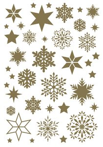 Rubons o calcomanías Cozy Christmas copos dorados