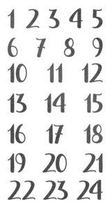 Pegatinas puffy números Calendario de Adviento Negros