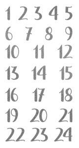 Pegatinas puffy números Calendario de Adviento Glitter Silver
