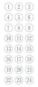 Pegatinas puffy números Calendario de Adviento Round Silver