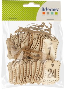 Etiquetas de madera Números Calendario de Adviento