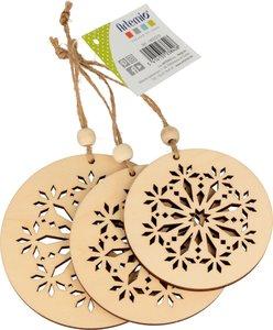 Set figuras de madera para colgar Cozy Christmas 3 pcs