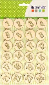 Números de madera redondos Calendario de Adviento