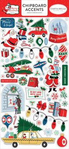 """Chipboard 6""""x12"""" Merry Christmas Accents"""