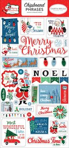 """Chipboard 6""""x12"""" Merry Christmas Frases"""
