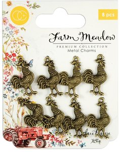 Set de Charms Farm Meadow Roosters