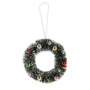 Corona de navidad con bolas 10 cm