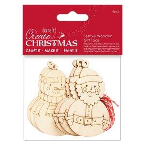 Maderitas colgantes Create Christmas Festive 6 pcs