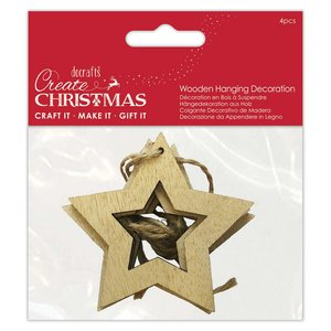 Maderitas colgantes Create Christmas Cutout Stars 4 pcs