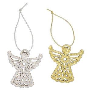 Maderitas colgantes Create Christmas Glittered Angels 4 pcs