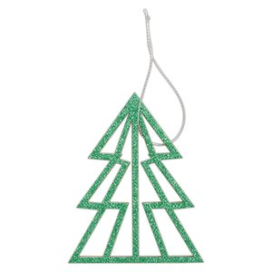 Maderitas colgantes Create Christmas Glittered Green Trees 3 pcs