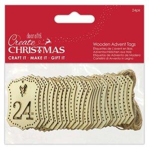 Maderitas Tags Números de Adviento Create Christmas 24 pcs